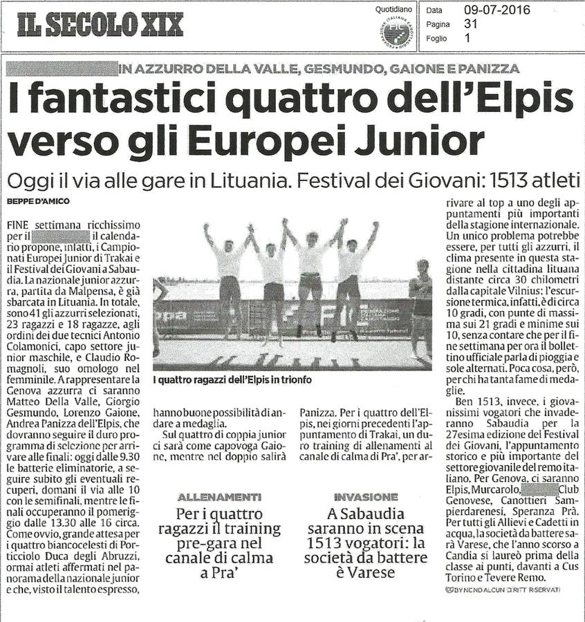 I fantastici quattro dell'Elpis verso gli Europei Junior