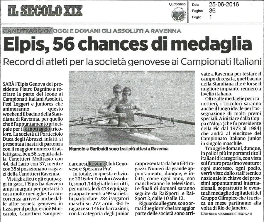Elpis, 56 chances di medaglia