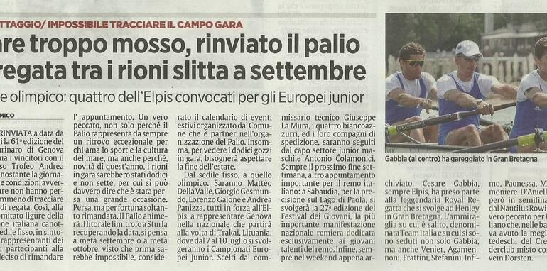 Quattro atleti dell'Elpis convocati per gli Europei Junior di Trakai, Gabbia ha partecipato alla Royal Regatta di Henley